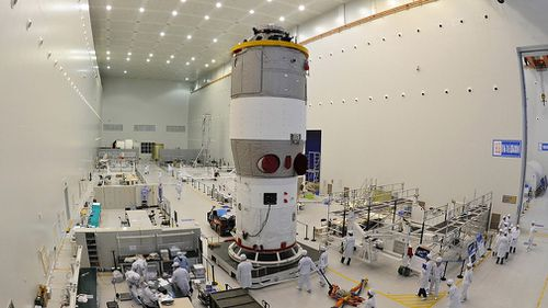 China's first space station module Tiangong-1 at the Jiuquan Satellite Launch Center in northwest China's Gansu Province prior to its launch on September 29, 2011. (AP)