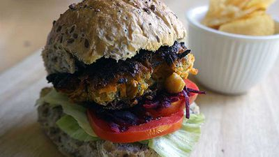 <strong>Chickpea and sweet potato burgers</strong>
