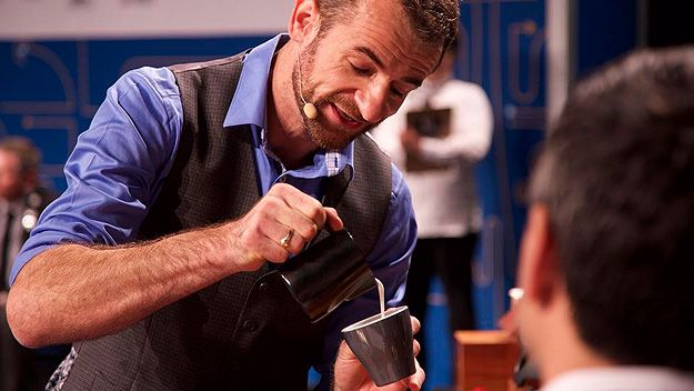 Sasa Sestic competing in the final (World Coffee Events/Twitter)