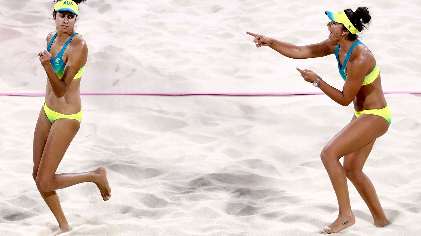 Mariafe Artacho del Solar and Taliqua Clancy celebrate during the Beach Volleyball Women's Semi Final match between Australia and Vanuatu. (Getty)