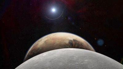 A digital rendition of Pluto and its moon. (NASA/JHUAPL)