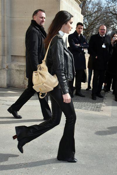 Bella Hadid during Paris Fashion Week.