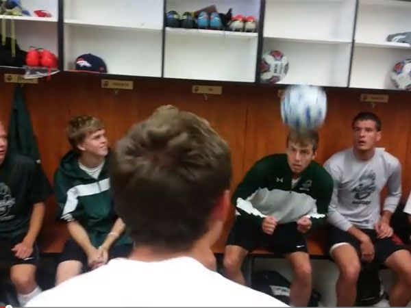 Football team hits spot with header challenge