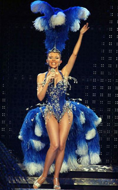Kylie sparkling during her Showgirl tour in 2005.