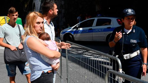 Displaced residents that where evacuated from buildings close to collapsed Morandi highway bridge.