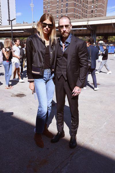 Veronika Heilbrunner and Justin O'Shea outside the show.