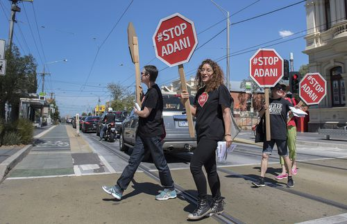 Adani mine protesters in the Melbourne seat of Batman (AAP)