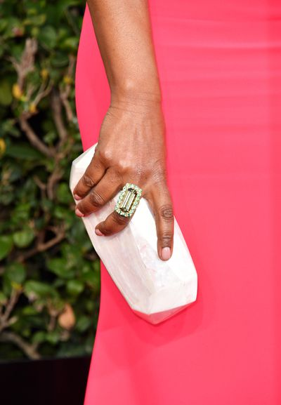 <p>Angela Bassett paired her Betty Rubble-inspired clutch with more traditional rocks and the effect was breath-taking.</p> <p>Image: Getty.</p>