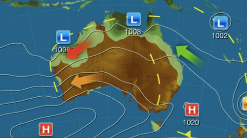 The winds are being generated by a strong high-pressure system that has developed to the south of Western Australia (Weatherzone)