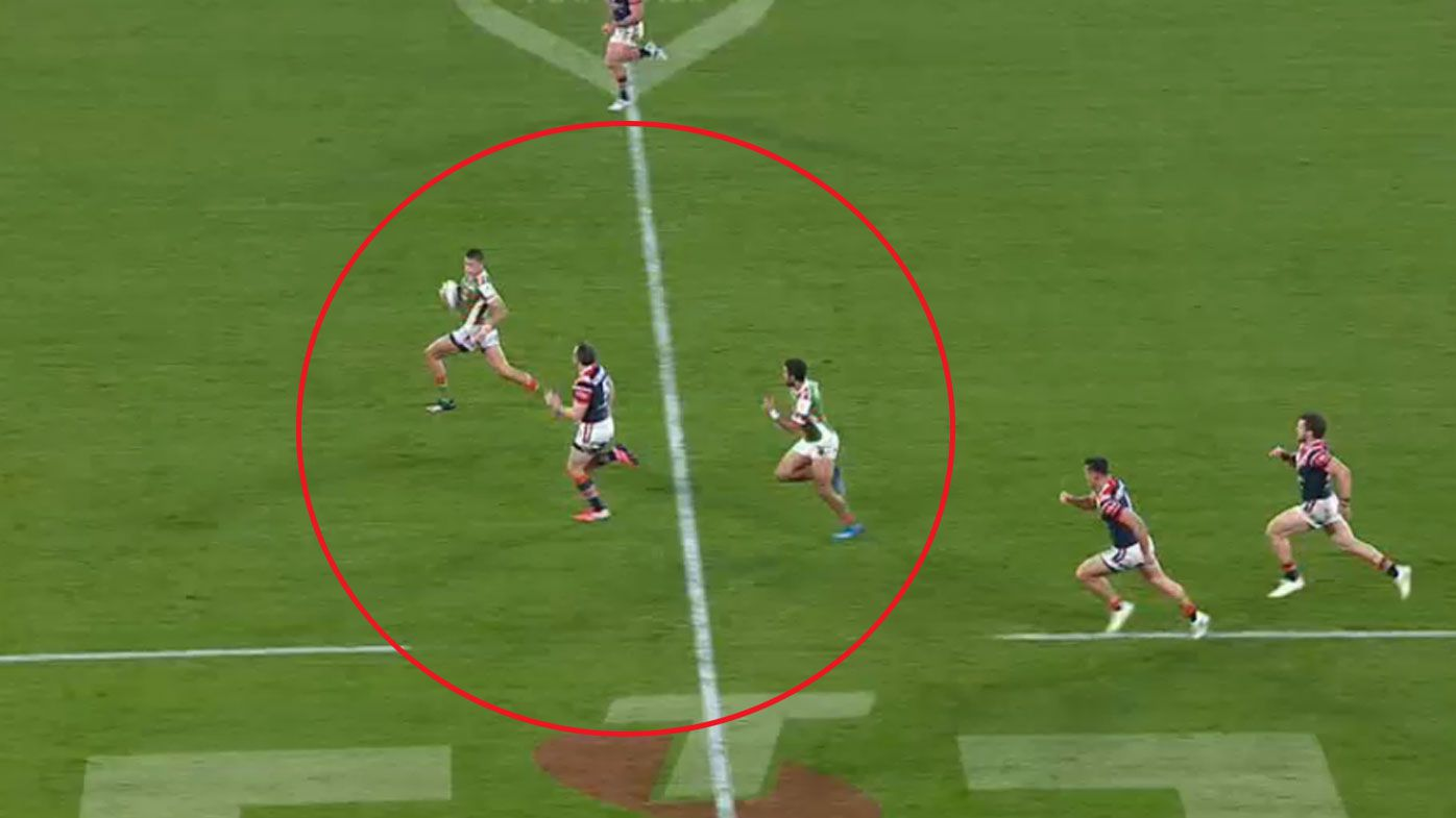 Brett Morris was outnumbered in defence but somehow came out on top to stop the Rabbtiohs on the burst