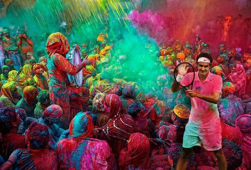 The former world number was one was photoshopped into a scene from the Holi Festival. (Picture: Twitter)