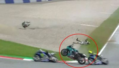 Valentino Rossi in a crash in Austria in 2020