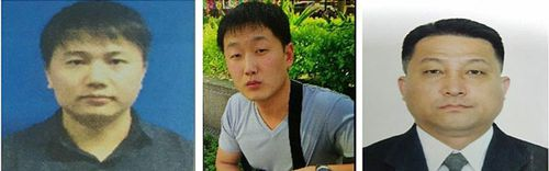 From left: North Korean citizens Kim Uk Il, Ri Ji U and Hyon Kwong Song were named as persons of interest by Malaysian police. (AP).