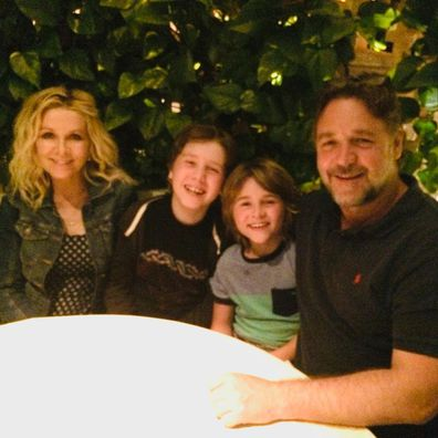 Russell Crowe, ex-wife Danielle Spencer, sons Tennyson and Charles, photo