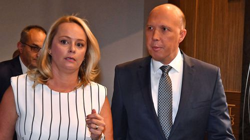 Minister for Home Affairs Peter Dutton and his wife Kirilly Dutton. (AAP)