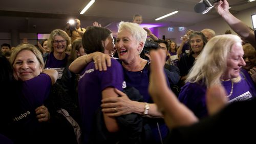 Kerryn Phelps (centre) will represent the seat of Wentworth as an Independent.