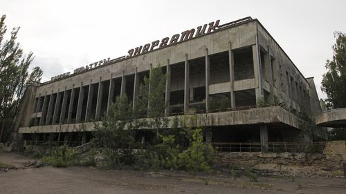A view of a building at the Chernobyl exclusion zone in the abandoned city of Pripyat.