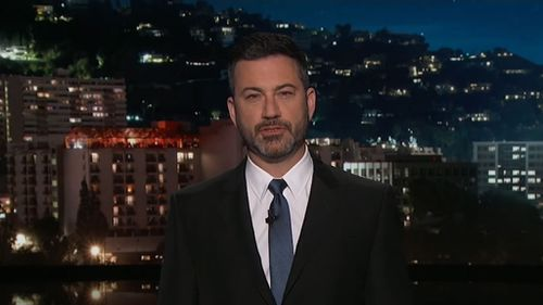 Kimmel launched his opening monologue last night by drawing attention the deadly school shooting in Sante Fe, Texas. Picture: ABC US