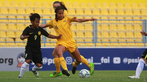 After debuting for the Young Matildas in just March this year, Mary went on to score 10 goals in six games and has attracted the attention of Matildas coach Alen Stajcic. Picture: Supplied.