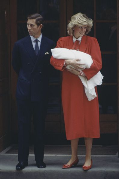 Charles and Diana leaving hospital with Prince Harry in 1984.