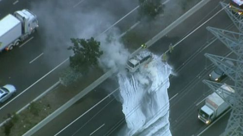 Firefighters responded to the West Gate Freeway scene. (9NEWS)