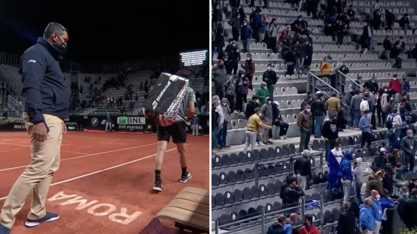 Crowds are sent home from the Italian Open as Rome's COVID-19 curfew cuts in.