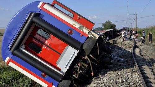 The derailed Turkish train that left the track in Tekirdag province on Sunday. (Photo: AP).