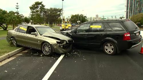 The car veered on to the wrong side of the road, before crashing into the oncoming vehicle at speed. (9NEWS)