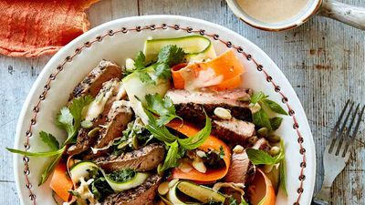 """<a href=""""http://kitchen.nine.com.au/2016/11/16/15/18/beef-sirloin-superfood-salad"""" target=""""_top"""">Beef sirloin, kale and cabbage superfood salad</a><br /> <br /> <a href=""""http://kitchen.nine.com.au/2016/06/06/22/54/hearty-salads-for-meat-lovers"""" target=""""_top"""">More hearty salads that really satisfy</a><br /> <br />"""