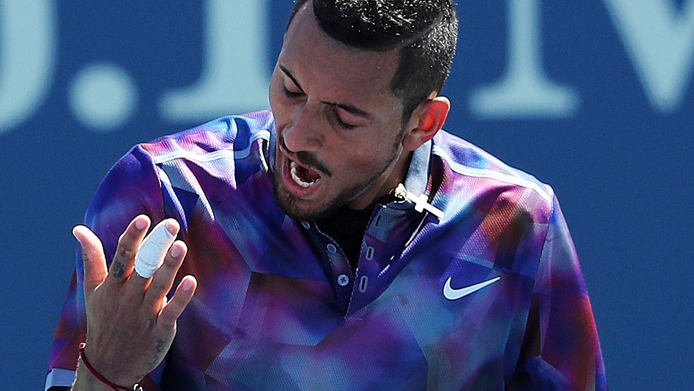 Nick Kyrgios fined for yelling obscenity and smashing racquets in his round one loss to John Millman
