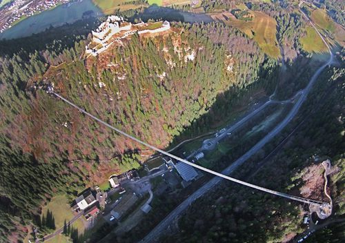 The 405 meters long suspension bridge 'highline179' connects the ruins of the Castle Ehrenberg with the remains of the Roman fortress 'Claudia' near Reutte in Tyrol, Austria