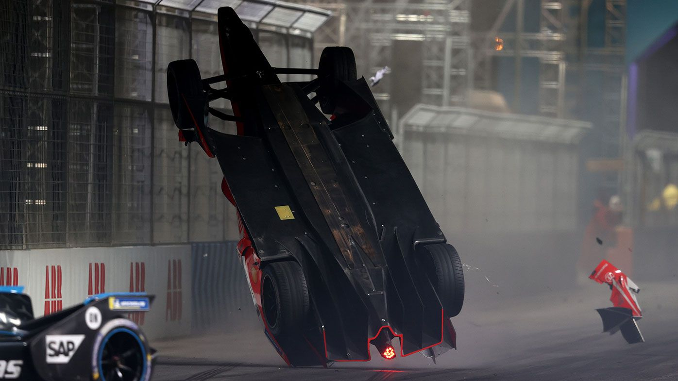 Alex Lynn is launched into the air after clipping the back of Mitch Evans in the Formula E race in Saudi Arabia.