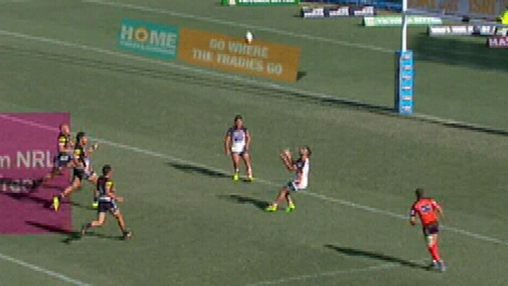 Tigers fullback James Tedesco gets hit in bone crunching tackle against Penrith