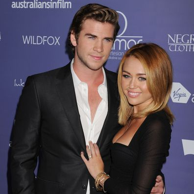 Miley Cyrus, Liam Hemsworth, engaged, ring, red carpet
