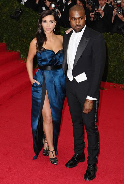 Kim Kardashian in Givenchy with Kanye West at the 2014 Met Gala.