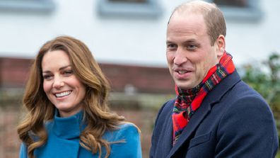 BERWICK-UPON-TWEED, ENGLAND - DECEMBER 07:  Prince William, Duke of Cambridge and Catherine, Duchess of Cambridge meet staff and pupils from Holy Trinity Church of England First School as part of their working visits across the UK ahead of the Christmas holidays on December 7, 2020 in Berwick-Upon-Tweed, United Kingdom. During the tour William and Kate will visit communities, outstanding individuals and key workers to thank them for their efforts during the coronavirus pandemic. (Photo by Andy C