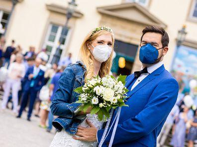 Couple at their wedding during coronavirus