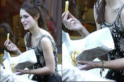 Looks like Keira Knightley's bony clavicle is enjoying those chippies.