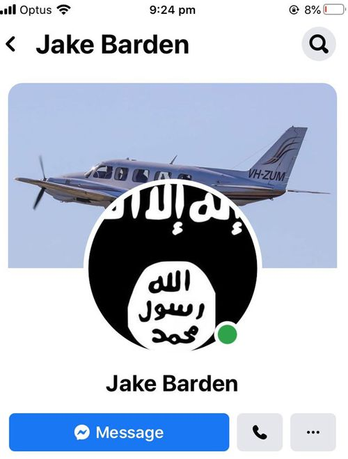 A flag associated with the terrorist group ISIS appeared as Mr Barden's profile picture before his account was disabled.