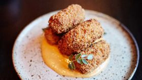 Beef croquettes with smoky wood sauce