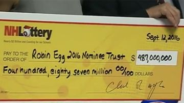 The over-sized novelty cheque for US$487 million.