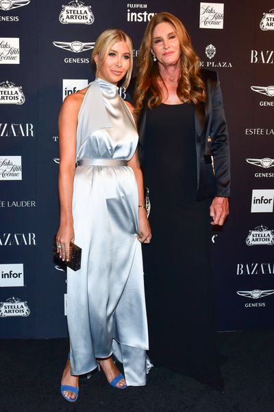 Model Sophia Hutchens and Caitlyn Jenner at the Harper's Bazaar Icons party in New York, September, 2018