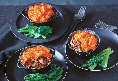 Szechuan beef pie with sweet potato