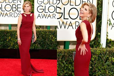 <i>The Good Wife</i> star draped herself in red.