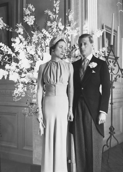 <p>Wallis Simpson and Edward VIII, Duke and Duchess of Windsor, 1937</p> <p>For her third marriage white was not an option for Wallis Simpson who selected a dress from the couturier Mainbocher, dyed a pale duck egg shade.</p>