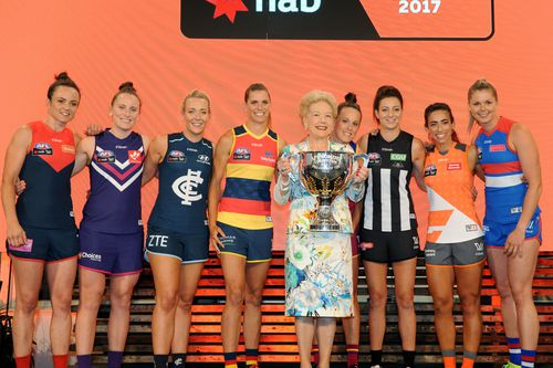 Mrs Alberti (centre) at the launch of AFLW last year. (AAP)