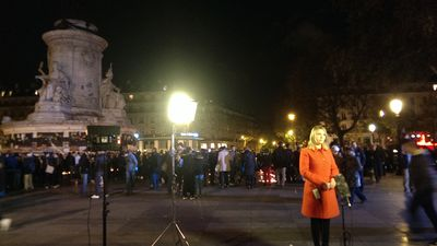 There was also panic at Place de la Republique, as people fled from an unknown source of panic. (Jack Hawke, 9News.com.au)
