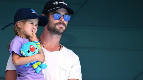 Hemsworth and his daughter India Rose. (AAP)
