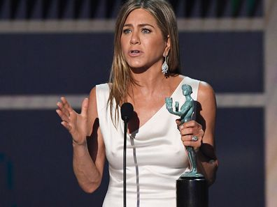 Jennifer Aniston accepts Outstanding Performance by a Female Actor in a Drama Series for 'The Morning Show' onstage during the 26th Annual Screen Actors Guild Awards at The Shrine Auditorium on January 19, 2020 in Los Angeles, California