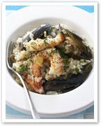 Prawn, mussel and eggplant risotto